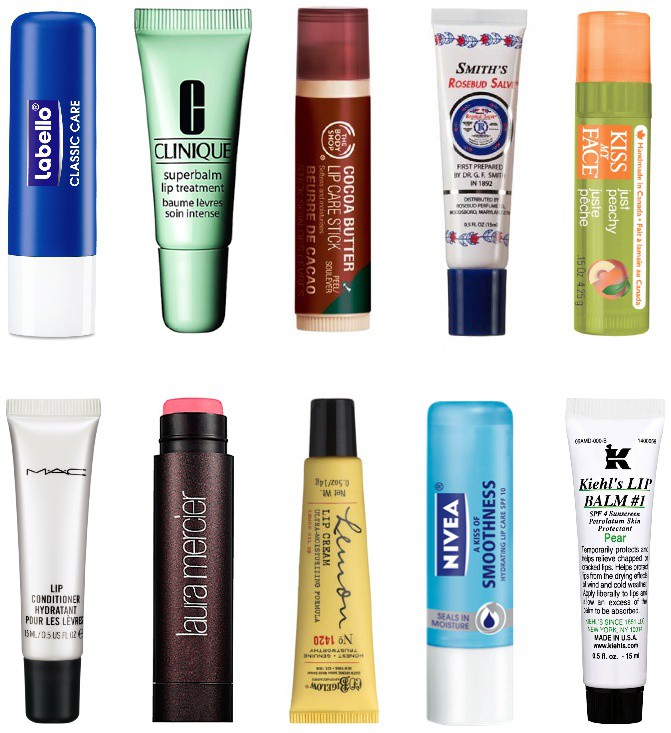 lip balms including mac, kiehls, laura mercer, nivea, rosebud salve